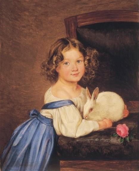 Ferdinand Küss (1800 - 1886) «Girl with a white rabbit»1836